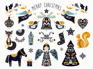 Christmas graphic elements collection in scandinavian style