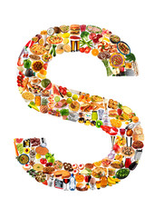 FOODFONT LETTER S ON WHITE