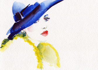 In de dag Aquarel Gezicht beautiful woman. fashion illustration. watercolor painting