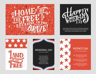 Template for Happy Veterans day. Hand lettering design for card or poster. Vintage vector illustration