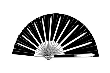Vector engraved style illustration for posters, decoration and print. Hand drawn sketch of japanese fighting fan isolated on white background. Detailed vintage etching drawing.