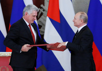 Russian President Putin and Cuban President Diaz-Canel attend a news conference following their meeting in Moscow