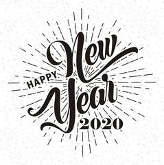 Happy new year 2020 on grunge background