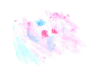 Abstract watercolor blue and lilac painting background