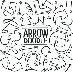 Arrow Direction Traditional Doodle Icons Sketch Hand Made Design Vector