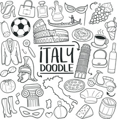 Italy Travel Traditional Doodle Icons Sketch Hand Made Design Vector