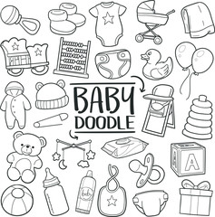 Baby New Born Traditional Doodle Icons Sketch Hand Made Design Vector