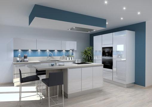 Cuisine laquée blanche, plan de travail chêne gris, murs bleus, ilot central