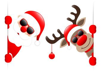Santa & Rudolph Christmas Ball Sunglasses Banner