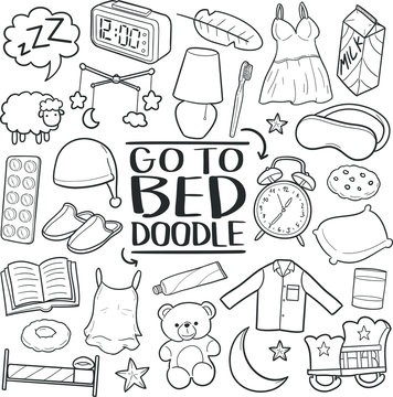 Go to Bed Sleeping Traditional Doodle Icons Sketch Hand Made Design Vector