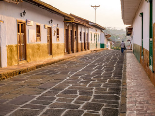 Barichara, Colombia, Santander, colonial street with white historic buildings