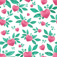 Valentines day seamless watercolor pattern with pink hearts and green leaves, background for february 14 celebration