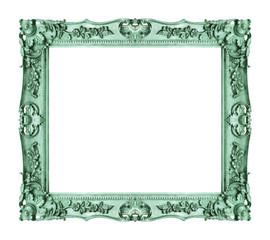 Antique green frame isolated on white background, clipping path