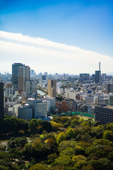 Beautiful architecture and building around Tokyo city with blue sky