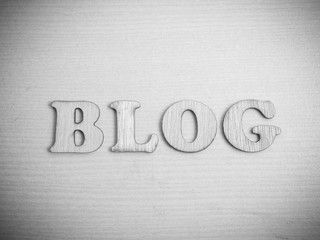 Blog, Wooden Words Typography Concept