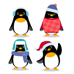Vector set of penguin characters in different action poses