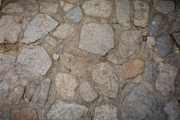 Texture with cobble stone, random pattern, top view