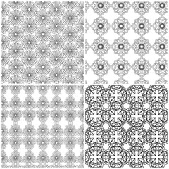 Four seamless floral grids