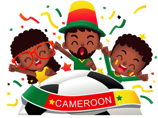 Vector illustration of Cameroon football fans characters celebrating