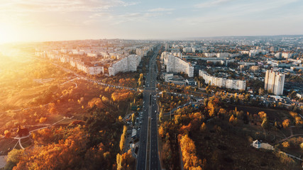 The City Gates at sunset.Beautiful city of Chisinau from a height