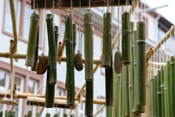 Green bamboo sticks. Green Bamboo tubes hang around the house.
