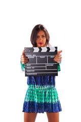 Woman with a movie clapper
