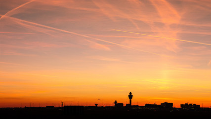 Amsterdam Schiphol International Airport sunset panorama