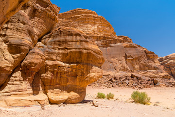 Ancient image of the stone head in Wadi Rum, The Valley of the Moon, southern Jordan.