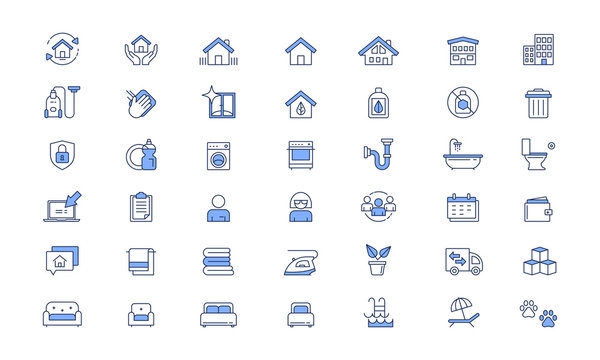 Cleaning services Vector line icon set