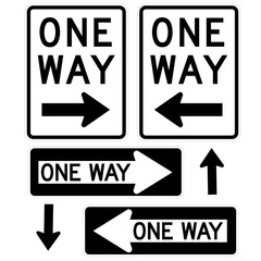 Signage-One Way Signs, Black and White