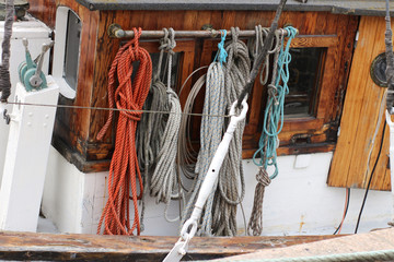 Ropes on deck of ship