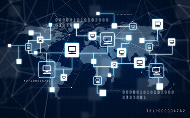 internet connection, networking and technology concept - virtual computer network and world map over dark blue background