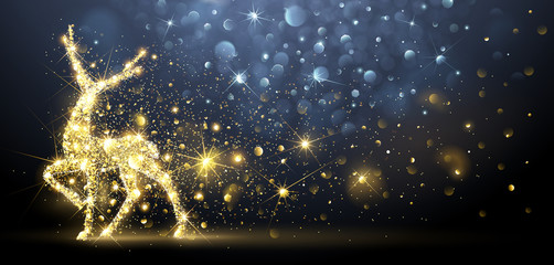 Christmas card with Magic Deer. Vector illustration