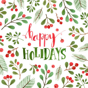 happy holidays square card. watercolor christmas illustration and lettering.
