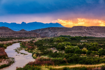 Autocollant pour porte Texas Big Bend National Park at sunset