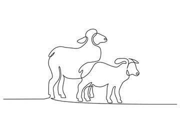 Continuous one line drawing. Sheep in modern minimalistic style. Vector illustration