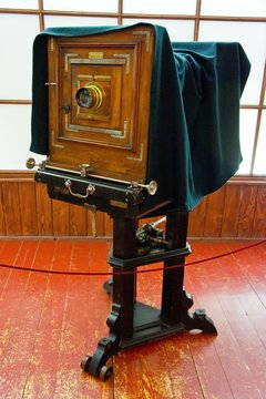 Vintage studio large format camera on a sturdy stand