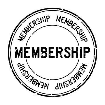 Grunge black membership word round rubber seal stamp on white background
