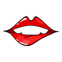 Female lips. Mouth with a kiss, smile, tongue, teeth. Vector comic illustration in pop art retro style isolated on white background.