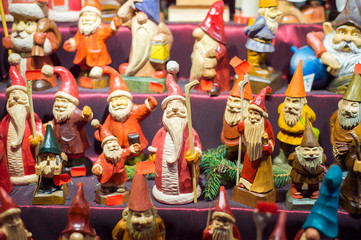 Christmas decoration on a european market. Holiday shopping