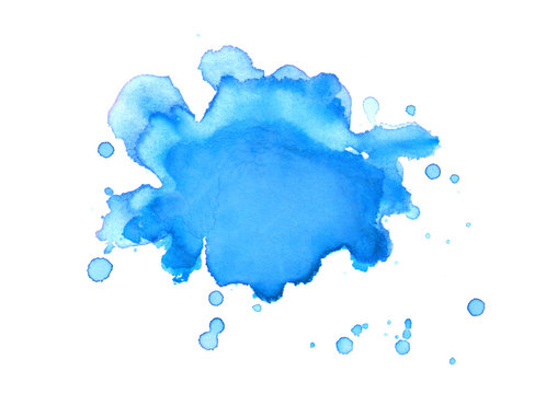 blue watercolor paint blob or blotch with paint spatter drips and drops on watercolor paper background