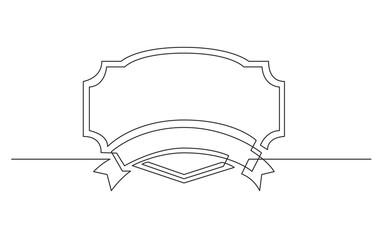 continuous line drawing of ribbon label