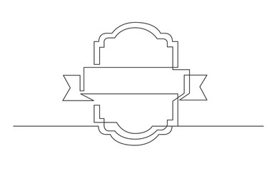 continuous line drawing of ribbon prize label
