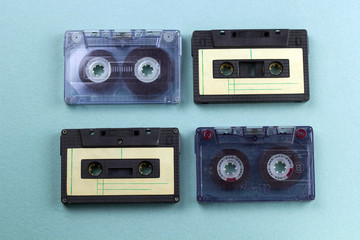 top view of vintage audio cassette tape blue background