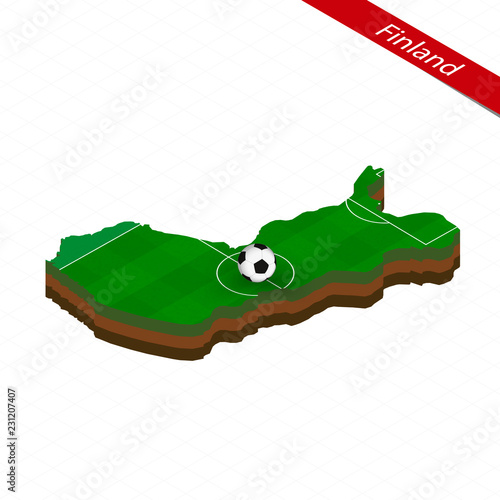 Isometric map of Finland with soccer field  Football ball in center