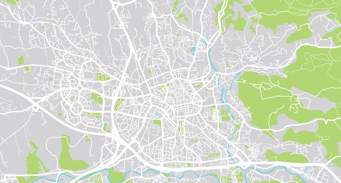 Urban vector city map of Aix en Provence, France