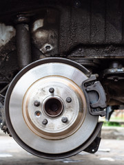 front view of new brake disc on old vehicle