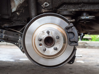 front view of new brake disc on old car