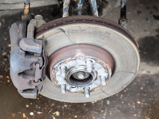 view of used brake disc on old car