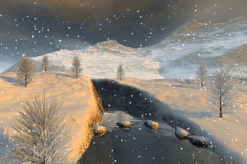 Snowfall, a winter landscape, a beautiful river, coniferous trees and clouds in the sky.